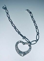 Genuine Tiffany & Co Elsa Peretti Platinum Diamond Heart with Bracelet Used.