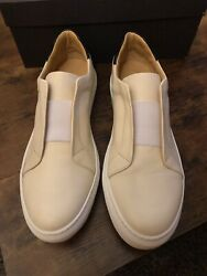 Barneys New York Laceless Sneakers Nappa Leather Size 12 (Fits Like 11.5) White $315.00