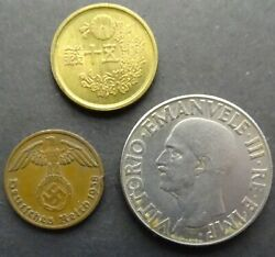 Lot Coin Italy Germany Japan Axis Powers Set Rising Sun, Eagle Circulated 1 $9.95