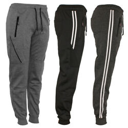 Mens Track Jogger Draw String Sweat Pants Running Active Sports Zipper Pockets $15.99