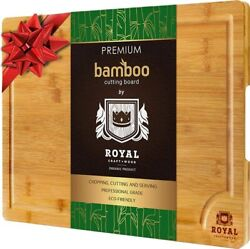 Bamboo Wood Cutting Board for Kitchen Butсher Block with Handles amp; Juice Groove $21.97