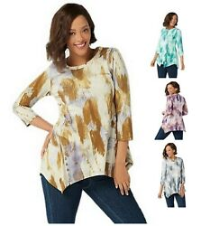 LOGO Lori Goldstein Womens Printed Cotton Modal Top with Button Detail XS 3X $16.99