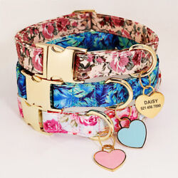 Floral Dog Personalized Collars Custom Heart Pet Dog ID Tag Name Number Engraved $10.99
