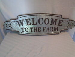 Galvanized Metal Welcome to the Farm Wall Sign Farmhouse Country Rustic Decor $19.00