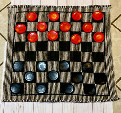 Checkerboard Floor Set With Plastic Checkers Floor Game Eoven Rug Giant Checkers $22.00