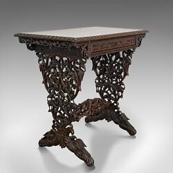Antique Small Writing Desk Asian Rosewood Side Lamp Table Victorian 1850 $4,265.63