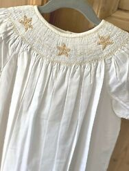 NEW Highland Porch Girls White Smocked Cotton Dress Beach Luxury Boutique 5T $21.00