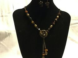 Avon...Antique Color Chain..Tiger#x27;s Eye Medallion Necklace amp; Earrings Set $8.95