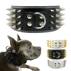 Spiked Studded Pet Dog Wide Collars Soft Leather for Medium Large Dogs Bulldog $19.99