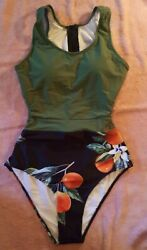 Woman#x27;s Teens Full Piece Bathing Suit Size M Tankini new In Packag black green#4 $10.99