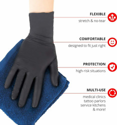 50 100 or 300 Black Nitrile PVC amp; Latex free Gloves Size M L XL XXL 2XL Quality $27.89