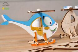 UGears 4Kids Coloring 3D Models Car Helicopter Rocket Whale Motorcycle Small $2.95