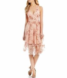 DRESS THE POPULATION Ally 3D Floral Mesh Cocktail Dress $268 Size L # 14A 288 N $64.99