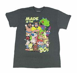 Nickelodeon Men#x27;s T Shirt Made In The 90s Hey Arnold Rugrats Real Monsters Rocko $14.99