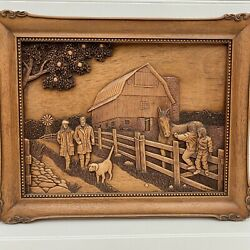 Kim Murray Vintage Wood Picture Walk in the Country Horse Farm 3D Carving Signed C $79.99