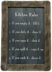 New Primitive Country Folk Art KITCHEN RULES Chalkboard Sign Wall Plaque $13.99