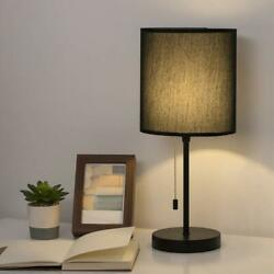 Modern Nightstand Lamp with Fabric Shade and Pull Chain Switch Stick Lamp $22.99