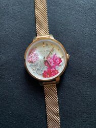 Ted Baker Kate Flowers 32mm Rose Gold Steel Mesh Women#x27;s Watch TE50070008 SD $30.00