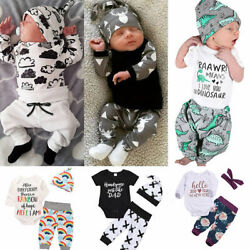 US Newborn Baby Boy Girl Tops Romper Bodysuit Jumpsuit Pants Outfits Clothes Set $10.89