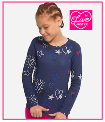 *NEW* JUSTICE GIRLS SIZE 8 10 12 STARS AND HEARTS BLUE SOFT LONG SLEEVE TOP TEE $10.00