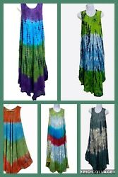 Womens Summer Sun Dress Umbrella Tie Dye Flower Beach Resort Wear Boho Hippie $17.99