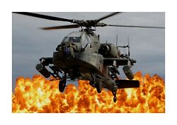 Boeing AH 64 Apache helicopter A4 photograph poster with choice of frame GBP 5.99