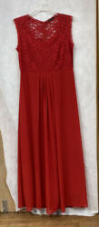 Ladies Red Maxi Dress With Lace Bodice Size 2XL By Miusol $20.00