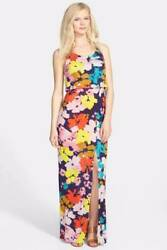 Felicity amp; Coco Floral Popover Jersey Maxi Dress Slit Small $70 $34.99