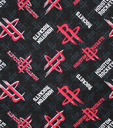 NBA HOUSTON ROCKETS ALLOVER PRINT #1 100% COTTON FABRIC BY THE 12 YARD $9.19