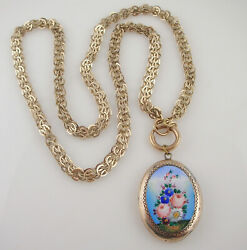 Victorian Antique Yellow Gold Filled Chain Enamel Flower Locket Pendant Necklace $195.00