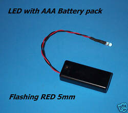 RED FLASHING 5mm LED WITH AAA BATTERY PACK amp; SWITCH Halloween fake car alarm $5.99