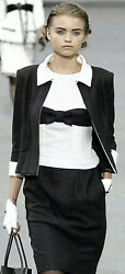 $3200 NEW CHANEL 09A BOW Celeb Tweed 38 40 42 6 8 10 DRESS White Suit 2009 Top $757.00