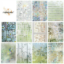 Rabbitgoo Home Window Film Privacy Static Cling Stained Glass Film Decoration $11.99