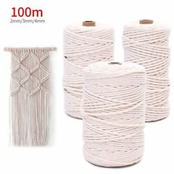 100M Natural Beige Cotton 234mm Twisted Cord Rope Artisan Macrame String DIY $9.99