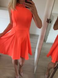 🌸 Ted Baker Size 0 Uk6 Xs Stretch Dress Flare Skater Circle Neon Orange Prom
