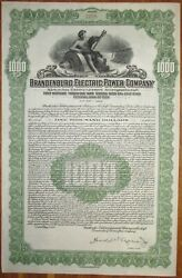 GERMANY Brandenburg Electric Power Gold Bond 1928 coupons SCRIPOTRUST certified $2500.00