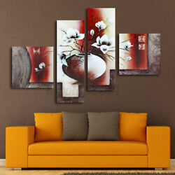 4pcs Modern Wall Mount Large Home Decor Art Painting Canvas Picture White Flower $12.56