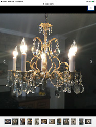 Chandelier brass polished by hands antique $295.00