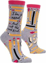 Blue Q Funny Novelty Women#x27;s Crew Socks I#x27;m a Nerd School Grey OSFA $9.99
