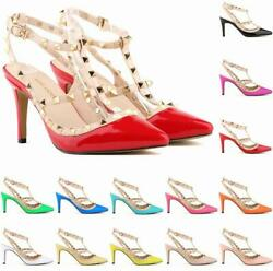 Sexy Women Party Shoes Buckle Rivet T Strap Lady Stiletto Pointed toe High Heels $35.99