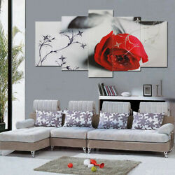 5Pcs Red Tree Rose Modern Canvas Oil Painting Wall Art Picture Print Decor $14.99