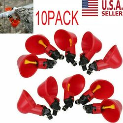 10 Pack Poultry Water Drinking Cups Chicken Hen Plastic Automatic Drinker USA $8.99