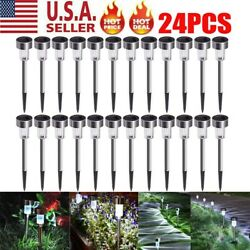 24 PCS Garden Outdoor Stainless Steel LED Solar Landscape Path Lights Lamp USA
