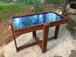 Vintage Mid Century Modern Art Deco Blue Mirror Top Table $60.00