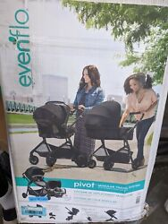 EVENFLO PIVOT MODULAR TRAVEL SYSTEM W SAFEMAX INFANT CAR SEAT CASUAL GRAY $215.00