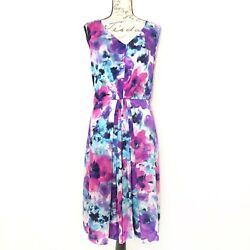Jones NY Sleeveless Floral Watercolor Fit amp; Flare Cocktail Plus Dress 14 $44.00