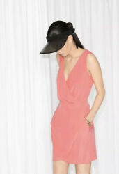 & OTHER STORIES CORAL PEACH FOLD OVER WRAP V-NECK SUMMER DRESS US6 EUR36 $12.51