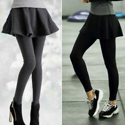 Women Fake Two Pieces Leggings Pants With Pleat Skirt Winter Warm Skinny Pants $17.22