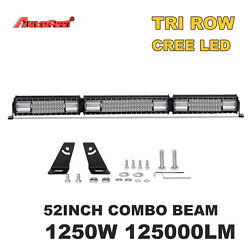 52 INCH 1250W FOLDED LED LIGHT BAR TRI ROW DRIVING OFF ROAD COMBO FOR JEEP FORD $76.99