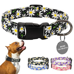 Fancy Flower Pet Dog Nylon Personalized Collars amp; Custom ID Name Tag Up to 90 cm $8.99